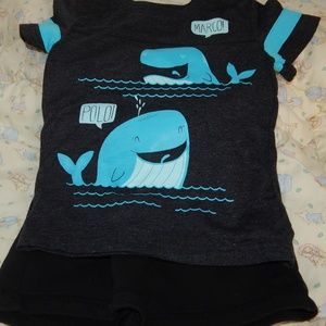 2T Cat & Jack Graphic Whale Tee/Black Jersey Short